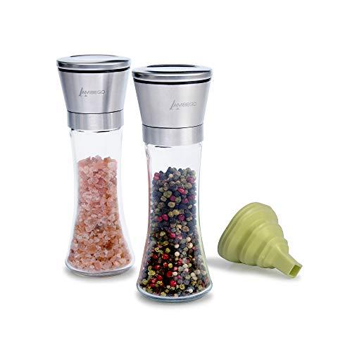 AMBEGO Pfeffermühle Gewürzmühle Salzmühle 2er Set mit Gratis Silikon Trichter, verstellbares Premium Keramik Mahlwerk für Feinschmecker - Edle Chilimühle aus Glas [ohne Gewürze]