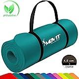 MOVIT Pilates Gymnastikmatte, Yogamatte, phthalatfrei, SGS geprüft, 183 x 60 x 1,0cm, in Petrol