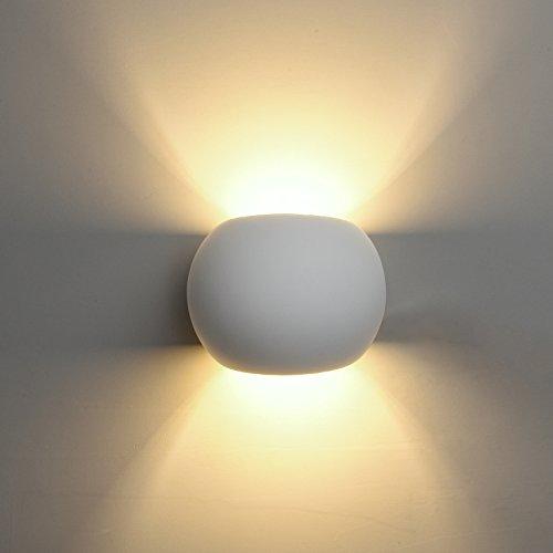 DECKEY LED Gips Wandleuchte kugelförmige Gipsleuchte modernes Design mit einer ersetzbaren G9 LED-Stiftsockellampe, 3W warmweiß indirektes Licht