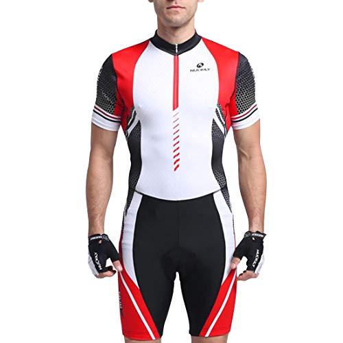 GWELL Herren Triathlonanzug Triathlon Trisuit Kompression Einteiler Duathlon Laufen Schwimmen Fahrradfahren Wettkampfanzug Kurzarm Rot EU XL