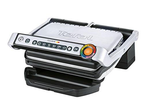 Tefal GC702D Optigrill (2000 W, Standard-Modell, automatische Anzeige des Garzustandes, 6 voreingestellte Grillprogramme) schwarz/silber
