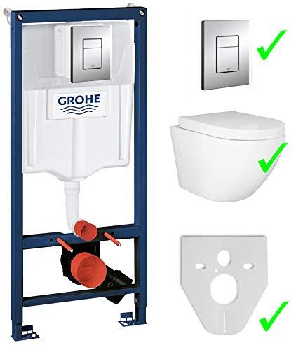 Grohe Rapid SL Vorwandelement inkl. Drückerplatte chrom + Lavita Wand WC Sofi ohne Spülrand + WC-Sitz mit Soft-Close-Absenkautomatik