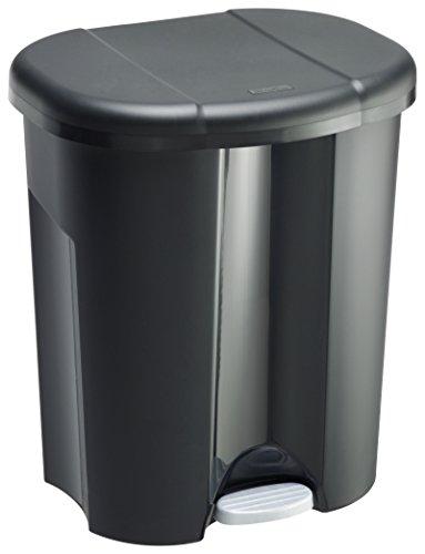 Rotho Trio Mülleimer zur Mülltrennung mit 3 getrennten Inneneimer, Kunststoff (PP), schwarz, 1 x 10 Liter + 2 x 15 Liter