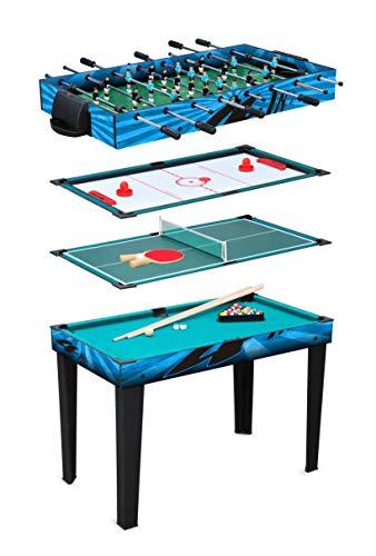 Small Foot 11279 Multifunktionstisch 4 in 1 aus Holz, Set mit austauschbaren Spielplatten für Billard, Tischtennis, Airhockey oder Tischkicker, inkl. Zubehör, fördert die Konzentration und Motorik, ab 5 Jahre Spielzeug, Mehrfarbig