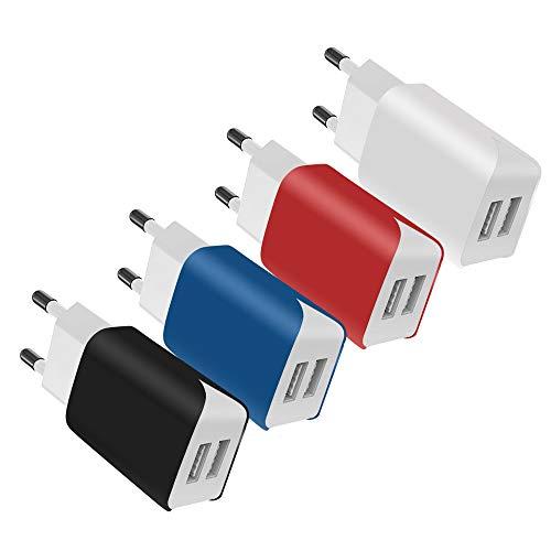 SCHITEC 2 Port USB Ladegerät, 4er-Pack 5V / 2.1A USB Ladeadapter/Netzteil, Bunter tragbarer USB-Portadapter Reise Wall Charger für das iPhone X 8,Samsung Galaxy Note 8, S9, S8, iPad,Tablet und mehr