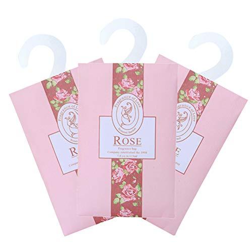 Vosarea 3pcs duftende Sachets Duftkissen Taschen für Schubladen Schränke und Autos schöne frische Duft - Rose (wie Gezeigt)