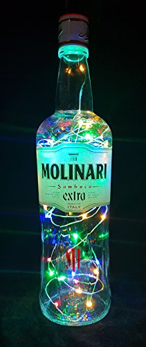 Molinari Sambuca Flaschenlampe mit 80 LEDs Bunt Upcycling Geschenk Idee