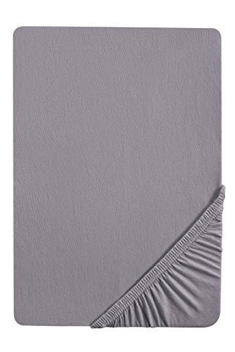 biberna 2744/018/040 Biber Spannbetttuch, Reaktiv gefärbt, nach Öko-Tex Standard 100, ca. 90 x 190 cm bis 100 x 200 cm, Farbe: silber / grau