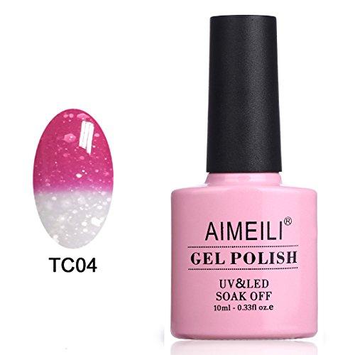 AIMEILI UV LED Thermo Gellack ablösbarer Nagellack Gel Polish - Hot Pink to Glitzer White (TC04) 10ml