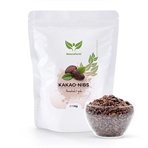 NaturaForte Kakao-Nibs 1kg, Low-Carb Bohnen Vegan, Stark entölt, Ohne Zucker-Zusatz, Zum Backen