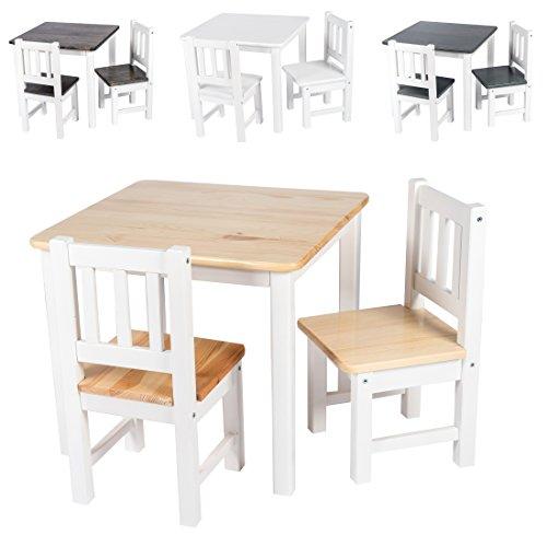 BOMI Kindersitzgruppe Amy aus Kiefer Massiv Holz für Kleinkinder, Mädchen und Jungen Natur Weiß
