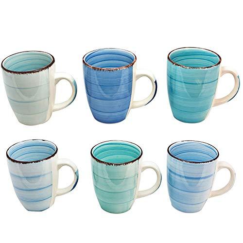 esto24 Design 6er Set Kaffeebecher Porzellan 350ml in tollen Farben für Ihr liebstes Heißgetränk für Kaffee, Cappuccino und Latte Macchiato (Blau Töne)