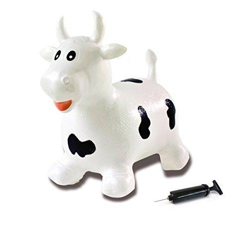 Jamara 460318 - Hüpftier Kuh weiß/schwarz mit Pumpe - fördert Gleichgewichtssinn & motorische Fähigkeiten, Tierohren dienen als Halt, belastbar bis 50kg, Pflegeleicht, robust & widerstandsfähig