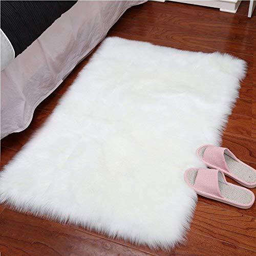 YJ.GWL Teppich Faux Lammfell Teppich Kunstfell Schaffell Imitat Teppich Schlafzimmer Wohnzimmer Boden Sofa Stuhl Fell Weiß 60 x 90 cm