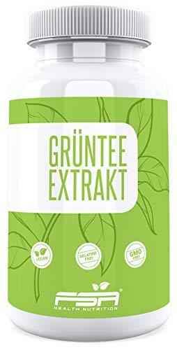 Grüner Tee Extrakt hochdosiert 500mg pro Kapsel von der Profisport Marke FSA Nutrition | Green Tea | Ohne Füll- und Trennstoffe | Vegan | 90 Kapseln