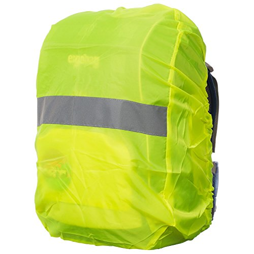 Regenschutz für Rucksäcke | Wasser- und Windabweisend | Reflektorstreifen | Rucksackschutz Ranzen Regenschutz Regencape Rucksackcover Regenüberzug Neon Sicherheitsüberzug Reflektorüberzug| MOVOJA