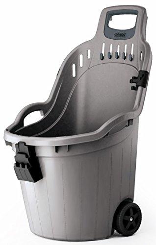 Gartentrolley HELPY mit 60 Liter Nutzvolumen, belastbar bis max. 65 kg. Räder auf Metallachse. In Grau oder Grün (Grau)