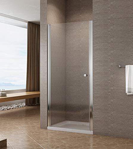 90cm Duschtür Duschabtrennung Nischentür Pendeltür Duschwand Schwingtür mit Nano Beschichtung Höhe 195cm klar
