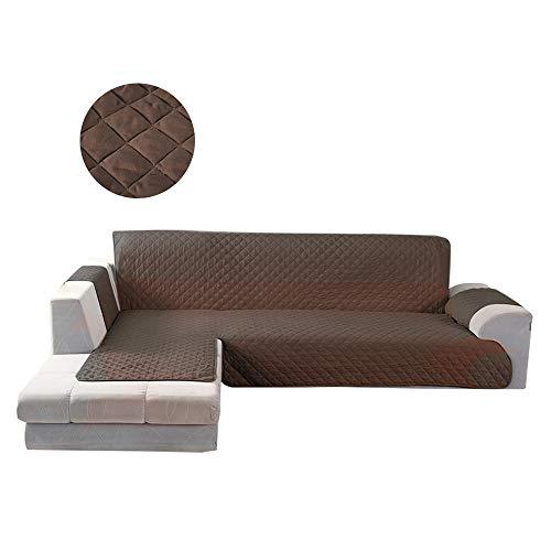 BOTTLEWISE Sofaschoner Sofabezug für Ecksofa, Rutschfest&Wasserabweisend Schützen vor Haustiere und Kindern (Links 4 Sitzer Braun)