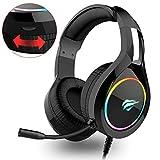 HAVIT Headset für PS4, RGB Gaming Headset für Xbox One, Nintendo Switch, Laptop, mit Surround Sound 50MM Treiber und Rauschunterdrückung Mikrofon (Schwarz)