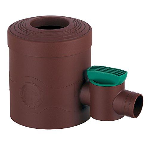 Regensammler Fallrohrfilter mit Hahn braun für Fallrohre von 68 - 100 mm Durchmesser und Viereckfallrohre mit 60 x 60 mm zum Befüllen von Regentonnen, Regenfässer und Regenspeicher