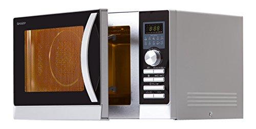 Sharp R843INW Mikrowelle / Express Pizza – Programm: Pizza optimal in 5 -9 Minuten zubereitet / Silber-Schwarz / Heißluft-Funktion / Grillfunktion / Auftaufunktion / 5 variable Leitsungsstufen / LED-Anzeige