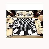 Carpet-CL C&L 3D Magic Hat Teppich, Quadratische Teppiche Wohnzimmer Schlafzimmer Outdoor-Fußmatten Schwarz Weiß Plaid (größe : 80 * 160cm)