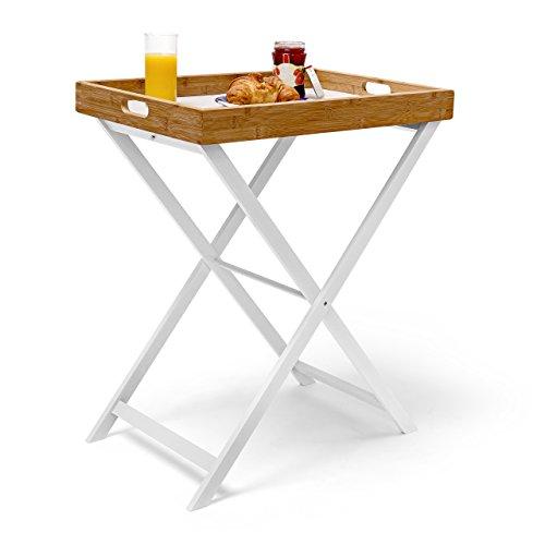 Relaxdays Tabletttisch Bambus H x B x T: ca. 72 x 60 x 40 cm Beistelltisch mit Tablett als Klapptisch und Serviertablett aus Bambus und Holz zum Servieren beim Frühstücken als Tablettständer, weiß