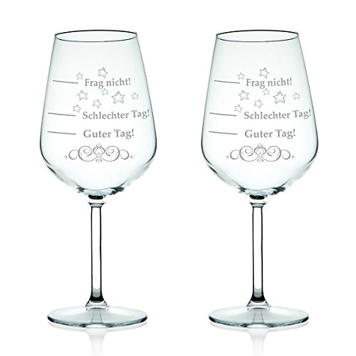 2x Leonardo XL Weinglas graviert mit 'Schlechter Tag, Guter Tag - Frag nicht!' - Stimmungsbarometer - Lustiges & Originelles Geschenk - Geeignet als Rotweinglas Weißweinglas im Set