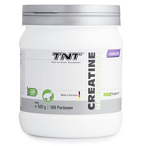 Hochwertiges Creatin Monohydrat Pulver für Muskelaufbau | Kreatin-Pulver zur Unterstützung im Kraftsport & Bodybuilding | Nahrungsergänzung - Vegan, Geschmacksneutral | TNT Creapure  - 500g Pulver