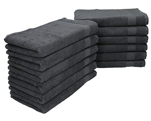 Betz 12 Stück Gästehandtücher PALERMO 100%Baumwolle Größe 30x50 cm verschiedene Farben Farbe anthrazit