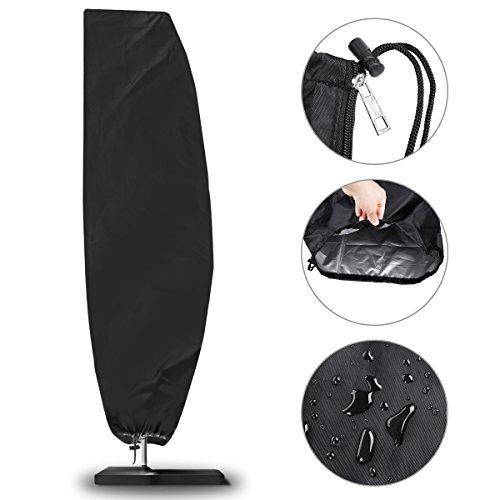 NASUM Schutzhülle für Ampelschirme Sonnenschirmhülle Abdeckhauben für Sonnenschirm für Schirm 2 bis 4 m Abdeckung mit Reißverschluss und Zugkordel Schirmhülle schwarz