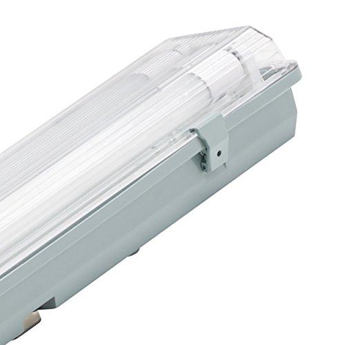 Müller Licht 20800200 A+, Feuchtraumleuchte Aqua-Promo 2 x 22 W LED Röhre, Plastik, grau, 156.5 x 11.5 x 8.6 cm