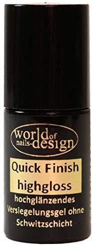 World of Nails-Design LED/UV Quick Finish highgloss, hochglänzendes Versiegelungsgel ohne Schwitzschicht Pinselflasche 6ml