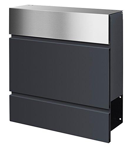 frabox Design Briefkasten Lens Edelstahl/Anthrazitgrau