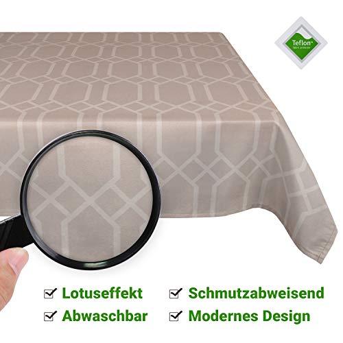 Valia Home Tischdecke Tischtuch Tafeldecke abwaschbar wasserdicht schmutzabweisend Lotuseffekt pflegeleicht Teflon behandelt eckig 140 x 300 cm beige