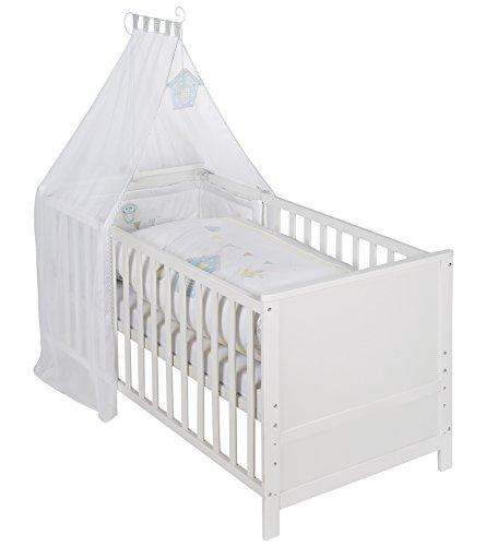 roba 203008WES183 Komplettbett Set 'Wiesenglück', Babybett weiß  Himmel, Nest, Matratze, Kombi Kinderbett 70 x 140 cm umbaubar zum Junior Bett