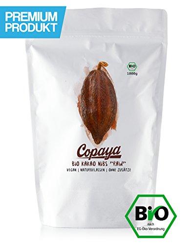 Kakao Nibs Roh ohne Zusätze | BIO | DE-ÖKO-001 | Aus Peruanischen Kakaobohnen | Kontrollierte Premium Bohnen ohne Zucker | Ungeröstet & Ungesüßt | Vorratspackung 1000g (1KG)