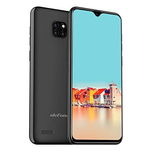 Ulefone Note 7 (2019) Smartphone ohne Vertrag 3 Kameras 3 Kartenschacht, 6.1 Zoll Bildschirm, 16 GB ROM Dual SIM Android 8.1 Handy Günstige, Face Unlock, 3500mAh Akku, Global Version - Schwarz