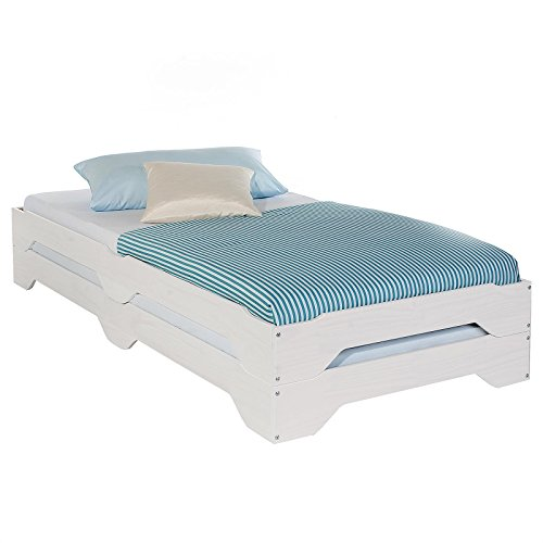 Stapelbetten Set Doppelbett Einzelbett Gästebett Bett RONNY Kiefer massiv weiss lackiert 90 x 200 cm (B x L)