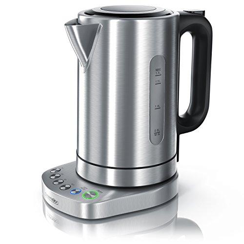 Arendo - 3000 Watt Edelstahl Wasserkocher mit Temperaturstufen | 1,7 Liter | 4 wählbare Temperatureinstellungen | Warmhaltefunktion (30min) | 3000W Leistungsaufnahme Schnellkoch Wasserkocher | integrierter Kalkfilter | BPA Frei