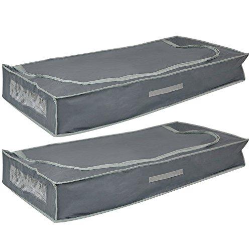 com-four 2X Unterbettkommoden mit Reißverschluss, Haltegriff und Sichtfenster, 105 x 45 x 16 cm (02 Stück - 105x45x16cm)