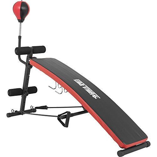 GORILLA SPORTS Sit-Up Bank mit Punching-Ball und Schwarz/Rot– Bauchtrainer verstellbar und klappbar bis 200 kg belastbar