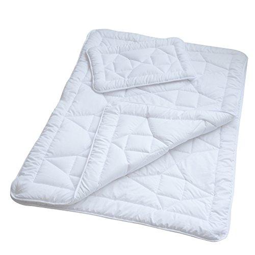 Kinder 4-Jahreszeiten-Bettdecke, 100 x 135 cm Mikrofaser Baby-Steppdecke im Set mit 1x Kopfkissen 40 x 60 cm