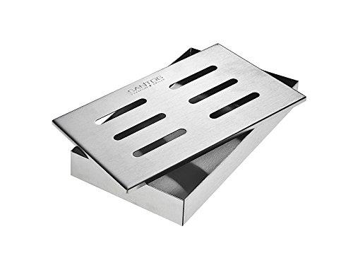 Santos Smokerbox Räucherbox Edelstahl Grillzubehör für Gasgrill, Kohlegrill und Kugelgrill  Aromabox Maße 21x13x3,4 cm