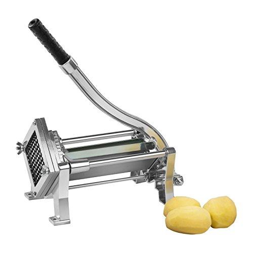 Royal Catering RCKS-3 Pommesschneider Kartoffelschneider Gemüseschneider (Inkl. 3 Messereinsätze 8x8/10x10/12x12, Manuell, Tisch- und Wandmontage, Edelstahl und Aluminium, Stabil)