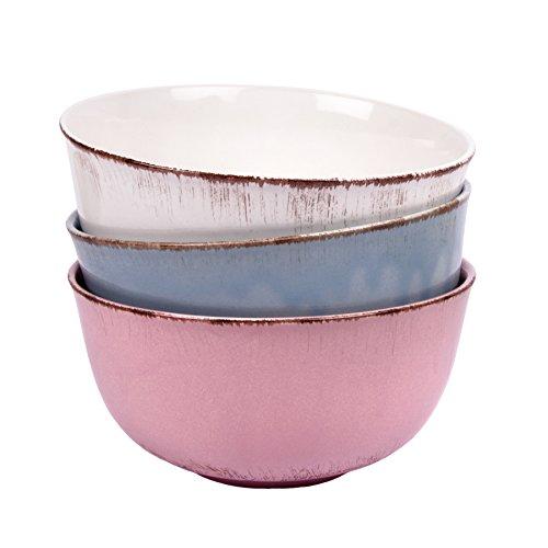 Gina Da Schüssel Schale Müslischale Geschirr Keramik - Serie Tosca L Shabby Chic Landhaus (Bunt [3er-Set])