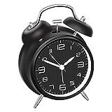 DreamSky Doppelglockenwecker mit Nachtlicht, Lauter Alarm, Wecker Analog mit großes Zifferblatt von 4 Zoll, kein Ticken, geräuschlos, Kinder Wecker Batteriebetrieben, Retro Design (Schwarz)
