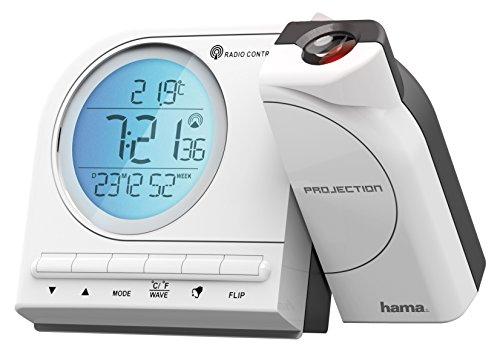 Hama Funk Projektionswecker (mit Thermometer, Kalender, Wecker, automatische Zeitanpassung, Projektor um 180 Grad drehbar) White/Blau/Grau