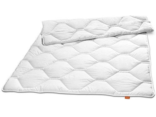 sleepling 190099 Komfort 340 Winter Bettdecke Made in Germany Baumwolle Satin Duo warm 135 x 200 cm, weiß